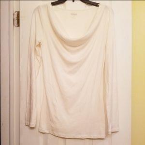 Express Cream Long Sleeve Drapey Neck Shirt